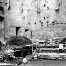 Muro Altar Mayor - detalle excavaciones Catedral de Cartagena - Pedro A. SAn Martín Moro 1958